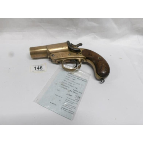 146 - A Webley & Scot Ltd Flare gun with de-activation certificate...