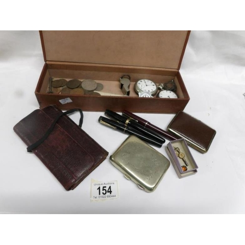 154 - A mixed lot including pocket watches, cigarette cases, silver fob, fountain pens etc...