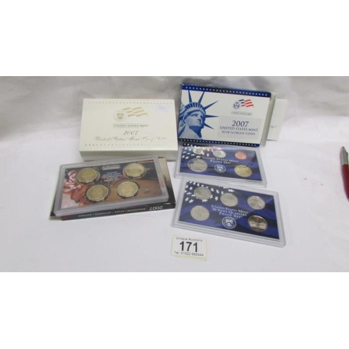 171 - A United States mint proof set of 14 coins including $1, quarters and mixed...