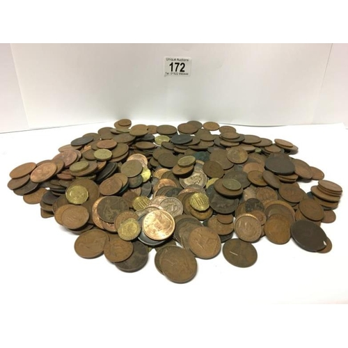 172 - A box of mainly English old pennies and half pennies etc...