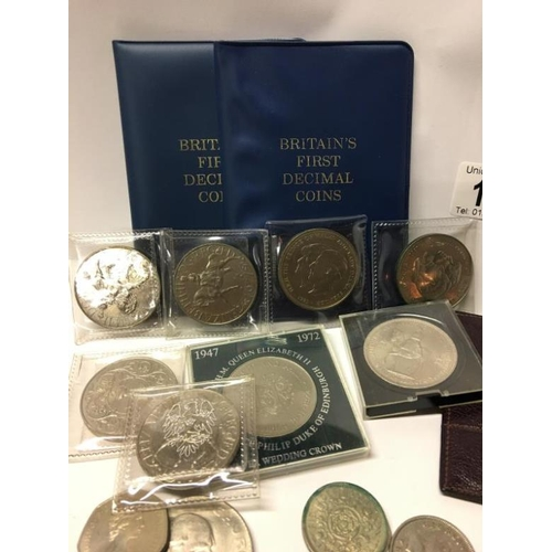 173 - A box of mainly English nickel coins including crowns...