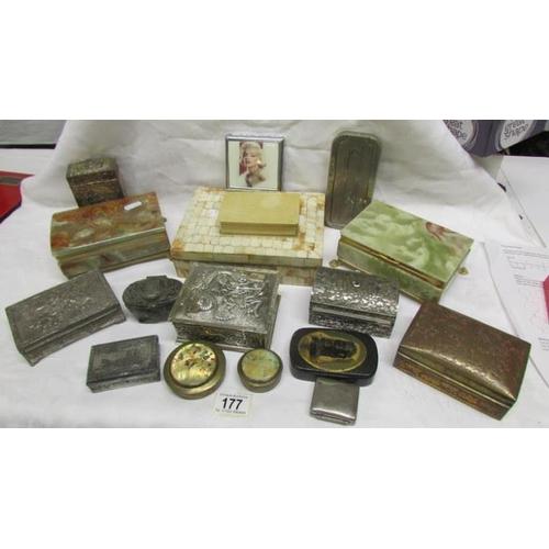 177 - 16 various boxes including bone, Marilyn Monroe, papier mache' and a razor box...