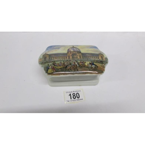 180 - A 19th century lidded pot depicting the Crystal Palace, a/f...