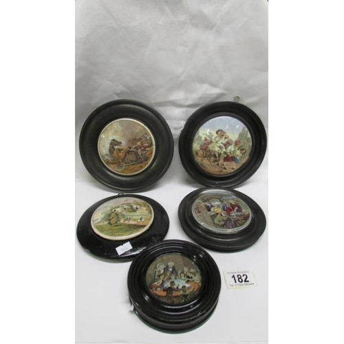 182 - 5 framed 19th century pot lids, all a/f...