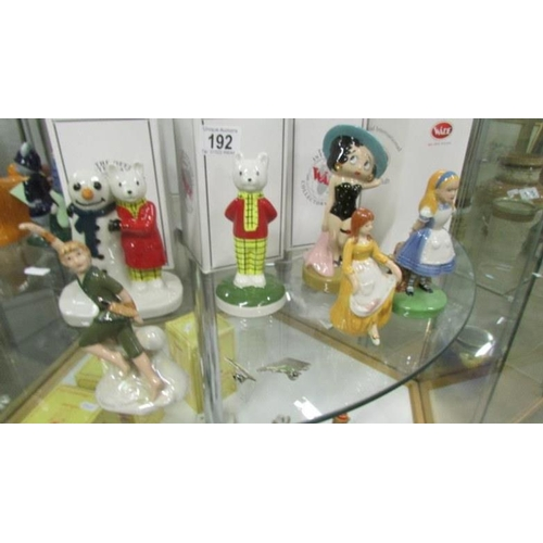 192 - 6 Wade character figurines including Rupert Bear, Alice, Betty Boop, Pan etc...