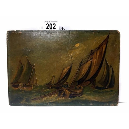 202 - An early 19th century oil on board of fishing boats laying nets under sail...