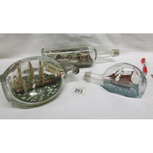 203 - 3 model ships in bottles...