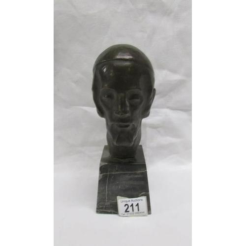 211 - A super bronze bust on marble base signed Zimmerman, 23cm high including base...