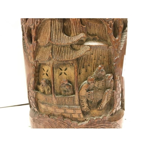 223 - A superb 19th century Chinese carved bamboo brush pot with liner...