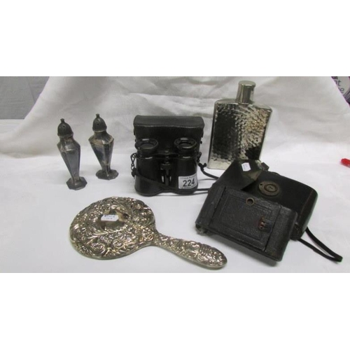 224 - A mixed lot including silver hand mirror, cased binoculars, cased Ernar camera, hip flask and salt a...