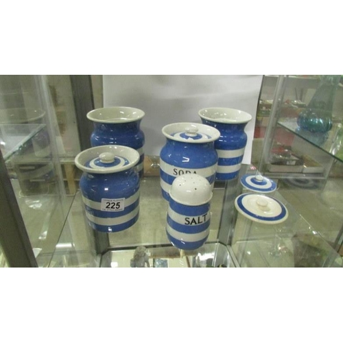 225 - 5 pieces of T G Green blue and white Cornish kitchenware including soda and salt...