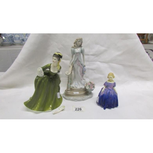 226 - 2 Royal Doulton figures, Simone & Marie, both a/f and one other figure...