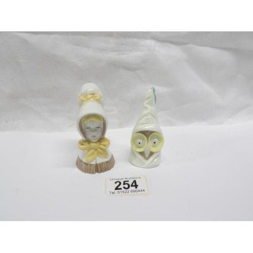 254 - 2 Royal Worcester candled snuffers including owl...