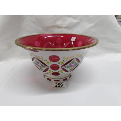 259 - A fine ruby overlaid glass bowl...