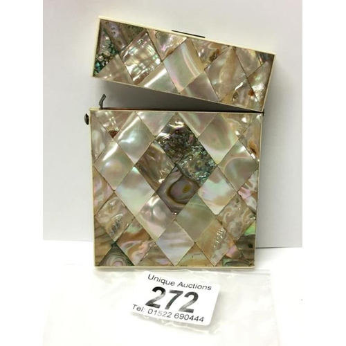 272 - A 19th century mother of pearl card case...