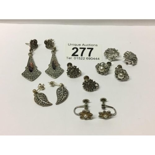 277 - 6 pairs of assorted earrings, mainly silver...