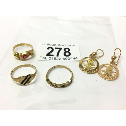 278 - An 18ct gold ring, 2 9ct gold rings and a pair of unmarked gold earrings...