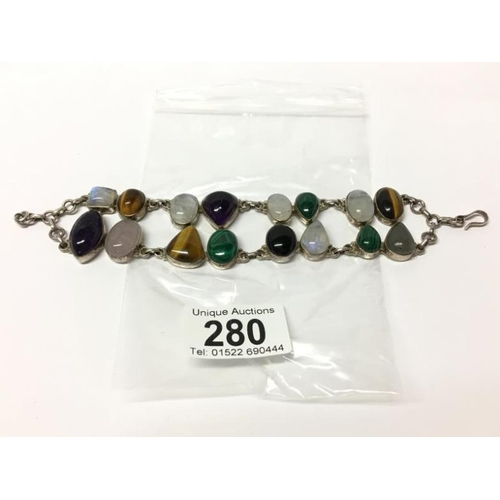 280 - A silver 1970's bracelet of semi precious stones...