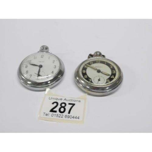 287 - A Smith's pocket watch and an Ingersol pocket watch...