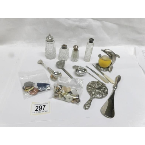 297 - A mixed lot of silver topped bottles, an interesting caddy spoon, collar studs, teaspoons with silve...