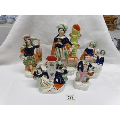 321 - 5 Staffordshire flat back figures, some a/f...