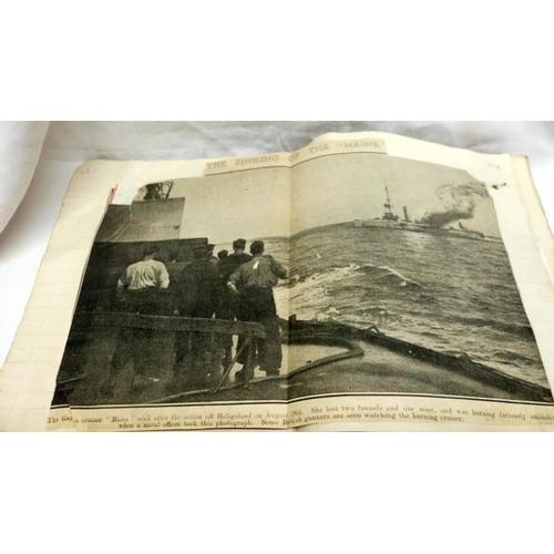 326 - An album of WW1 Royal Navy Newspaper cuttings, cigarette cards etc...