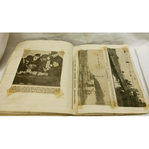 326 - An album of WW1 Royal Navy Newspaper cuttings, cigarette cards etc...