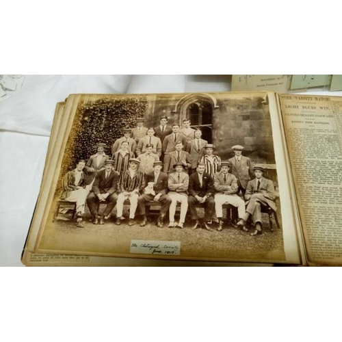 331 - An early 20th century scrap album relating to Cambridge University rugby team and a collection of au...