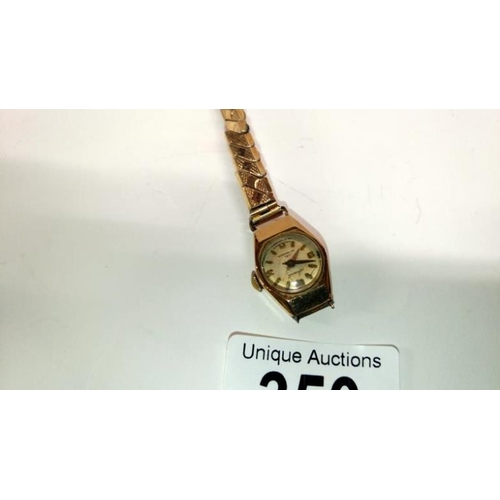 350 - A ladies 9ct gold Accurist wrist watch on metal bracelet, a/f...