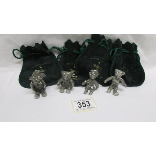 353 - 4 National Trust 'Teddies in Trust' collection bears in pouches...