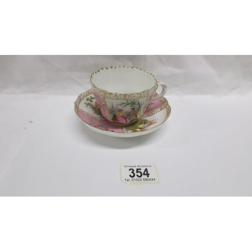 354 - A 19th century porcelain tea cup and saucer with crown over letter S mark...