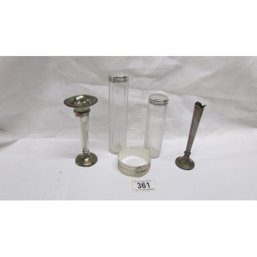 361 - 2 silver topped bottles, 2 silver specimen vases and a silver bangle...