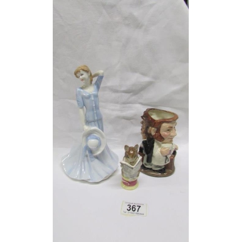 367 - A Royal Doulton Chelsea series figurine 'Katie', A Royal Doulton Dr Jeckyl and Mr Hyde character jug...