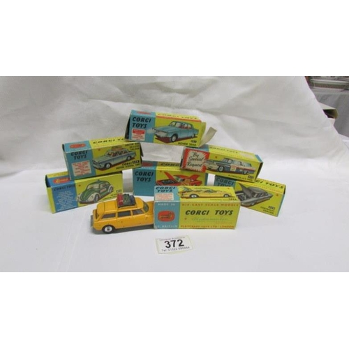 372 - 7 boxed Corgi toy cars in various conditions including Volkswagen police car, Plymouth U.S. Mail, Ro...