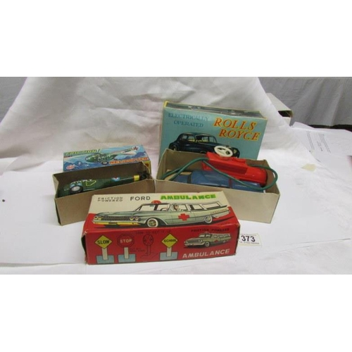 373 - A boxed Marx Friction helicopter, a boxed Clifford series remote control Rolls Royce and a box only ...