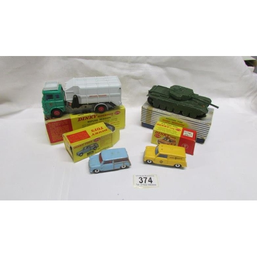 374 - 4 boxed Dinky toys in various conditions including 199 Austin Sevem, 274 AA Mini Van, 651 Centurion ...