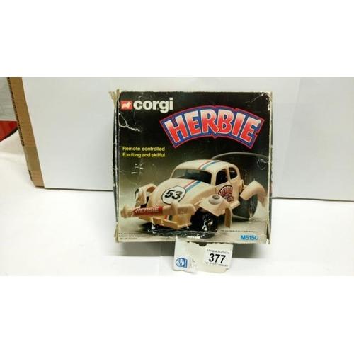377 - A Corgi remote control Herbie Volkswagen beetle in original box...
