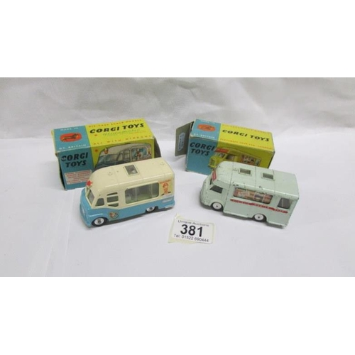 381 - A boxed Corgi 407 Smith's 'Karrier Bantam' mobile shop and a boxed Corgi 428 Smith's Mister Softee i...