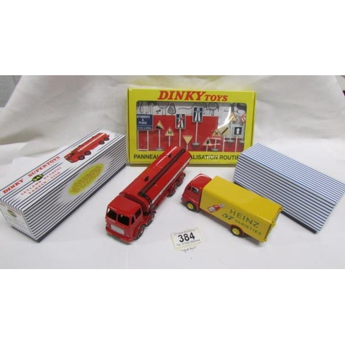 384 - 3 boxed Atlas Editions Dinky toys copies of 943 Leyland, 920 Guy and 593 French road signs...