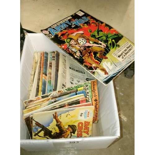 393 - A quantity of children's comics including Schoolgirls pocket library, Battle picture library and Com...