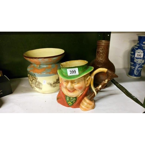 399 - A Beswick character jug a/f, a Royal Doulton jardiniere, repaired and a celtic pottery jug...