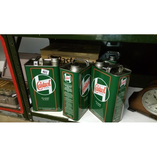 403 - 4 Castrol oil cans...