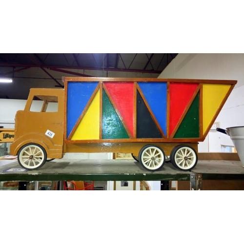 435 - A hand made wooden tipper truck...