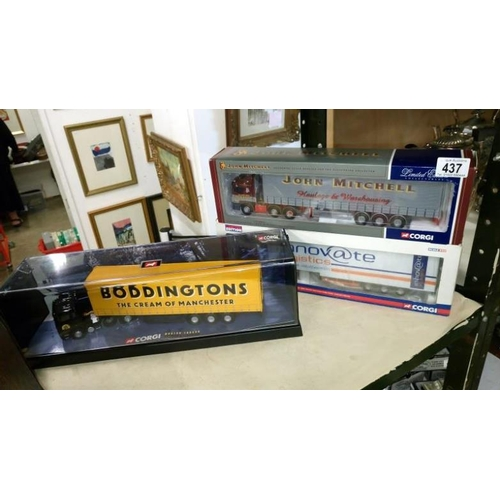 437 - 3 boxed Corgi CC12001, CC13414, 75202, John Mitchell Boddingtons Inovate commercial vehicles...