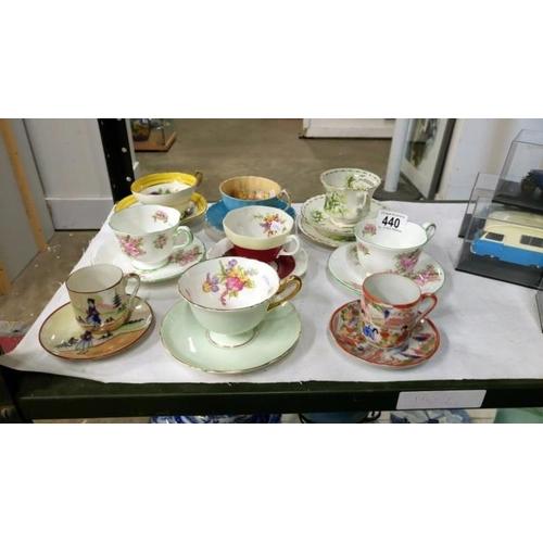 440 - 9 various tea cups and saucers...