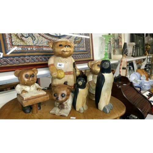 445 - 4 wooden bear figures and 2 wooden penguin figures...