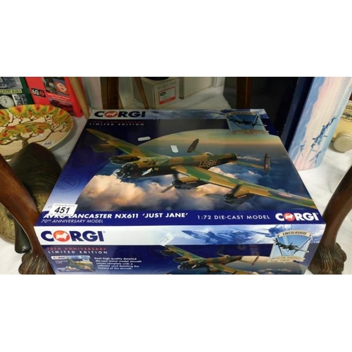 451 - A limited edition model aeroplane of Avro Lancaster bomber 'Just Jane' (Lincolnshire Aviation Herita...
