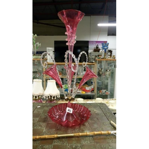 465 - A cranberry glass epergne...