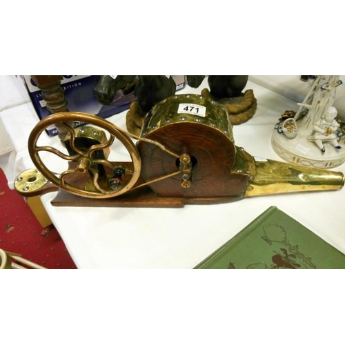 471 - A 19th century wood and brass mechanical peat bellows...