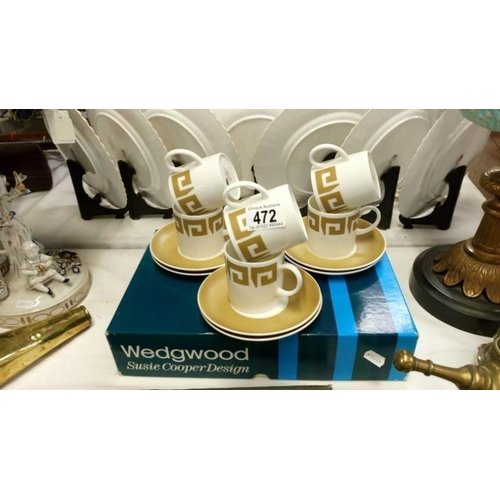 472 - A boxed Wedgwood Susie Cooper design 'Old Gold Keystone' set of 6 cups and saucers...